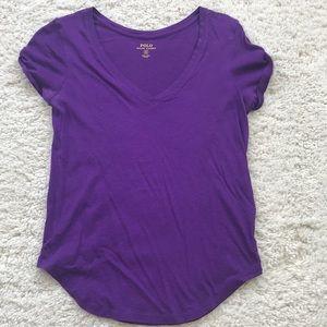 Purple v-neck Polo tee